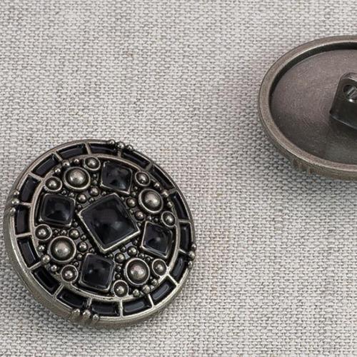 Пуговица металл ПМ80 25мм черный никель черная эмаль уп 12 шт фото 1