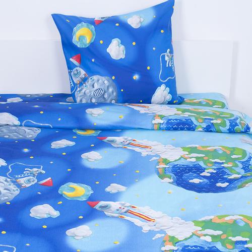 Детское постельное белье 13095/1 Пластилиновый космос 1.5 сп перкаль фото 1