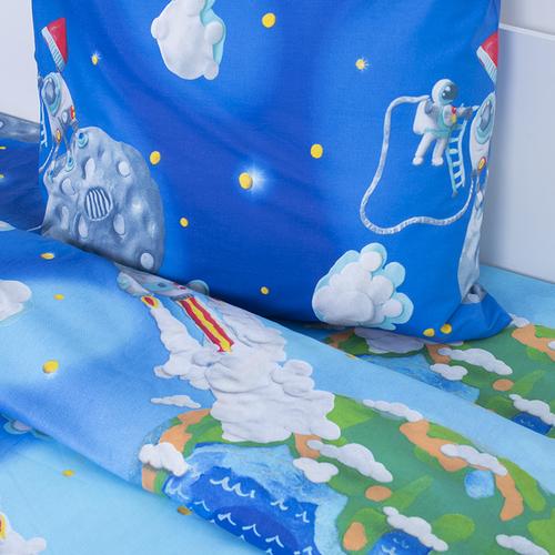 Детское постельное белье 13095/1 Пластилиновый космос 1.5 сп перкаль фото 2