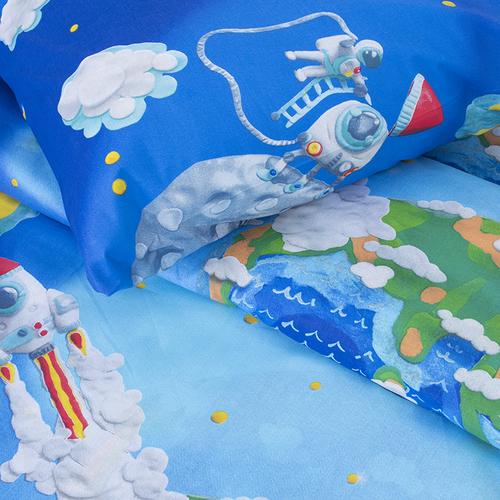 Детское постельное белье 13095/1 Пластилиновый космос 1.5 сп перкаль фото 3