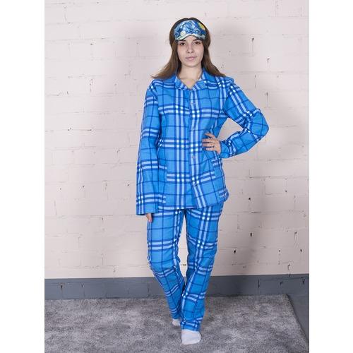Пижама женская фланель клетка 44-46 цвет голубой модель 6 фото 1