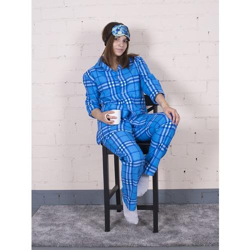 Пижама женская фланель клетка 44-46 цвет голубой модель 6 фото 3