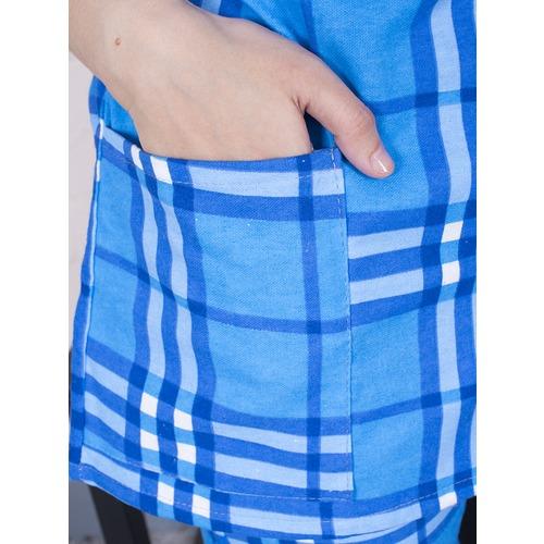 Пижама женская фланель клетка 44-46 цвет голубой модель 6 фото 2