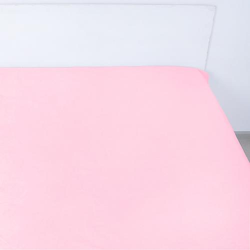 Простынь на резинке поплин цвет розовый 160/200/20 см фото 1