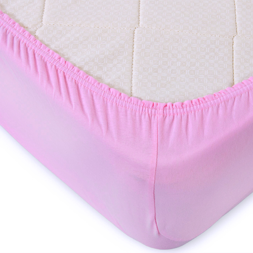 Простыня трикотажная на резинке Премиум цвет розовый 180/200/20 см