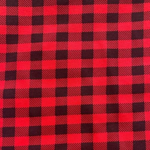 Ткань на отрез кулирка 1172-V2 Клетка цвет красный фото 1