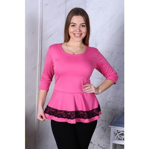 Блузка Вита баска милано розовая В283 р 56 фото 1