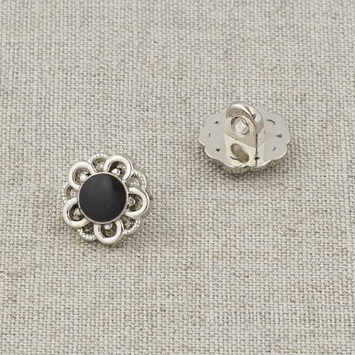 Пуговица металл ПМ120 11мм серебро черная эмаль цветок уп 12 шт фото 1
