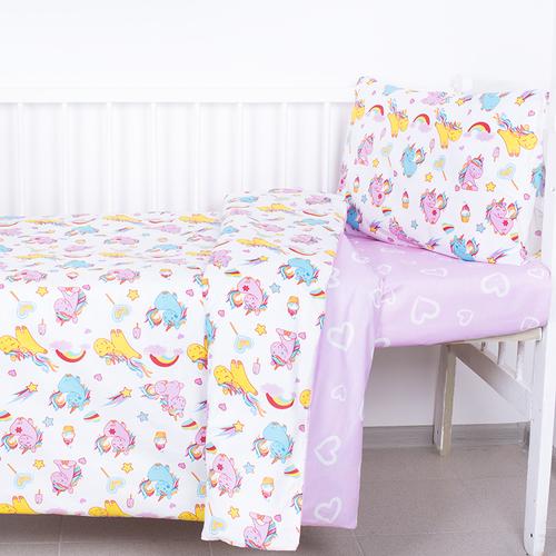 Постельное белье в детскую кроватку из поплина 1836+395/2 с простыней на резинке фото 1
