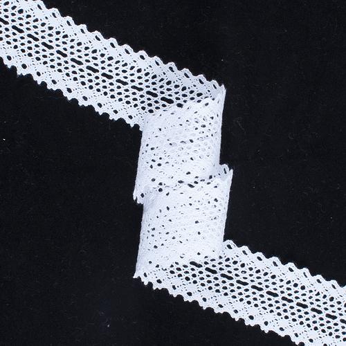 Кружево лен 1324А Белый 3,5см уп 10 м фото 1