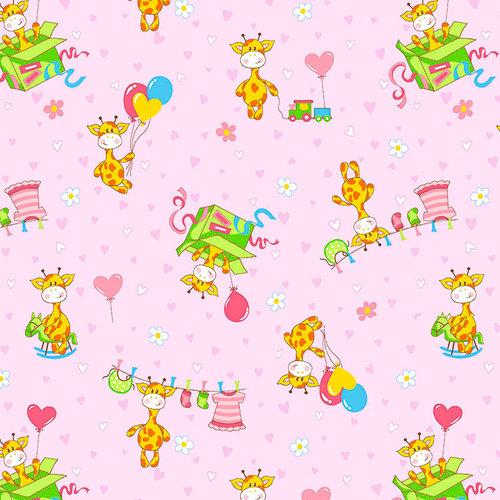 Ткань на отрез фланель 90 см 21030/3 Жирафики цвет розовый фото 1