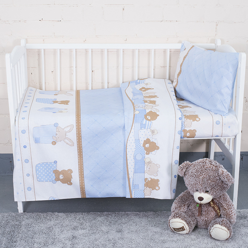 Постельное белье в детскую кроватку 8078 Спящие мишки голубой фото 2