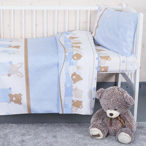 Постельное белье в детскую кроватку 8078 Спящие мишки голубой фото 1