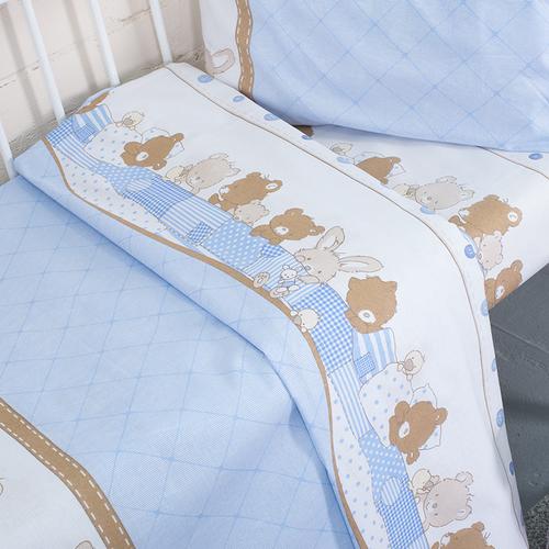 Постельное белье в детскую кроватку 8078 Спящие мишки голубой фото 3