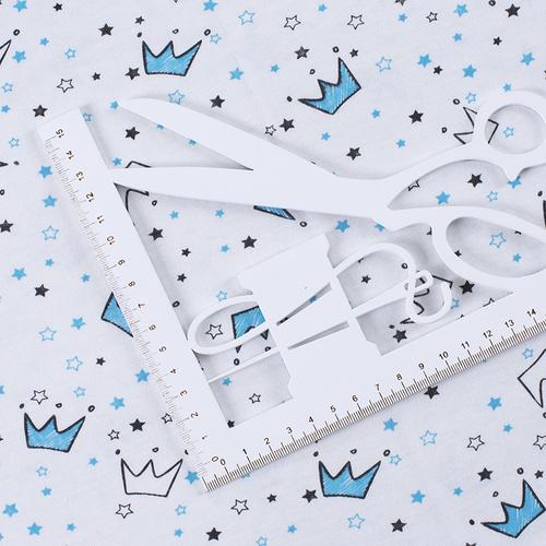 Ткань на отрез кулирка Короны на белом 2298-V2 фото 3