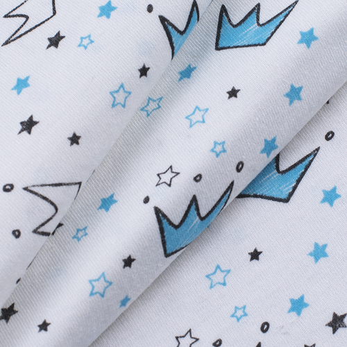Ткань на отрез кулирка Короны на белом 2298-V2 фото 4