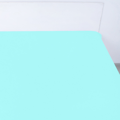 Простынь на резинке поплин цвет тиффани 180/200/20 см фото 1