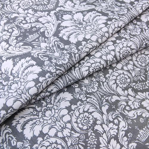 Ткань на отрез поплин 220 см 115 г/м2 391/17 Дамаск цвет серый фото 1