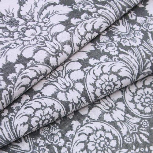 Ткань на отрез поплин 220 см 115 г/м2 391/17 Дамаск цвет серый фото 3