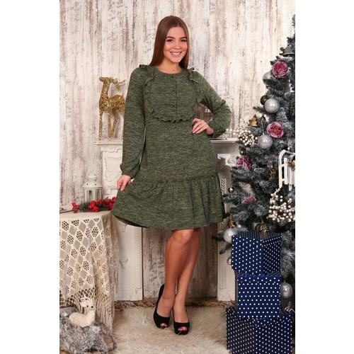Платье Аманда пуговицы зеленое Д480 р 46 фото 1