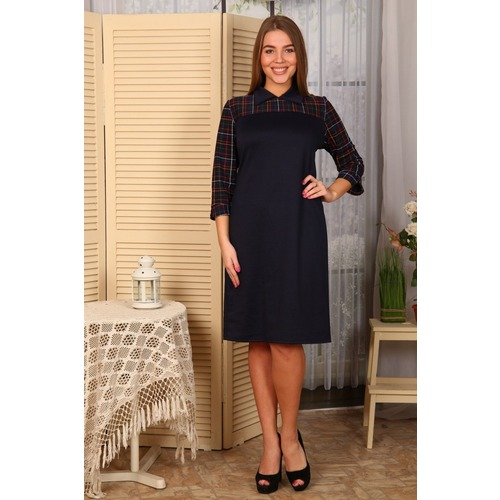 Платье Луиза клетка+тем.синее Д478 р 48 фото 1