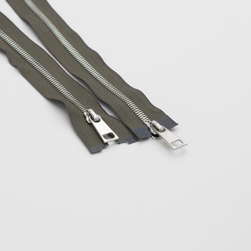 Молния металл №5СТ никель два замка 85см D034 серый фото 1