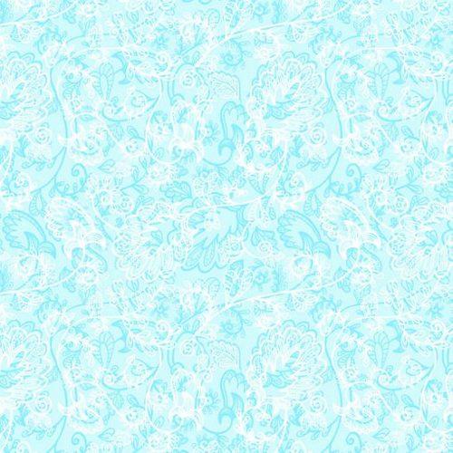 Мерный лоскут Тик 150 см 170 гр/м2 5337-1 Кружево цвет голубой 2,1 м фото 1
