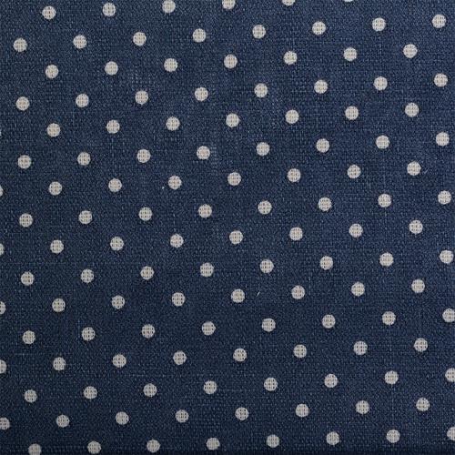 Ткань на отрез лен TBY-DJ-12 Горох цвет синий фото 1