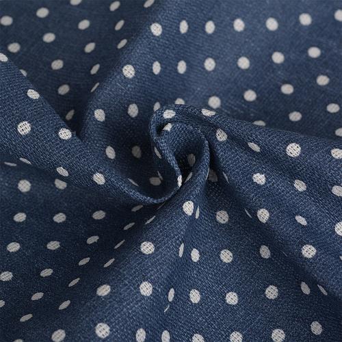 Ткань на отрез лен TBY-DJ-12 Горох цвет синий фото 4