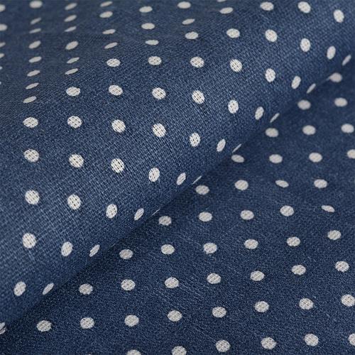 Ткань на отрез лен TBY-DJ-12 Горох цвет синий фото 2