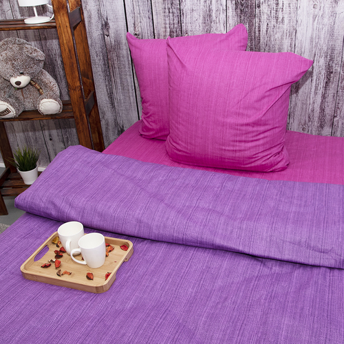 Постельное белье из перкаля Эко Фиолетовый закат 2-х сп с евро простыней фото 1