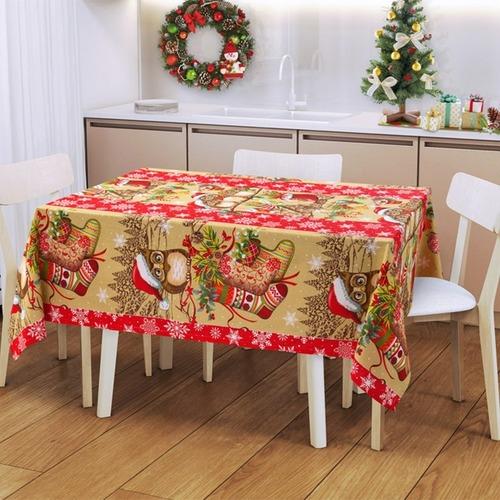 Ткань на отрез рогожка 150 см 204801Р Новогодняя семейка 1 фото 1