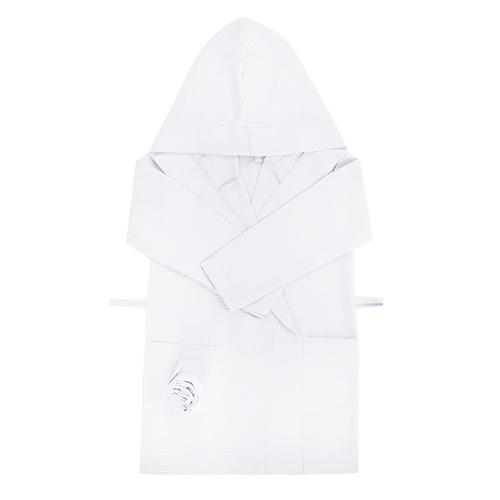 Халат детский вафельный с капюшоном белый 110-116 см фото 1