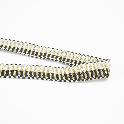 Лампасы №136 черный молочный поперек золото люрекс 2,5 см 1 метр фото 1