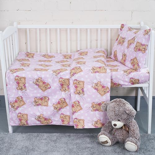 Постельное белье в детскую кроватку из бязи 1286/2 Соня розовый с простыней на резинке фото 2