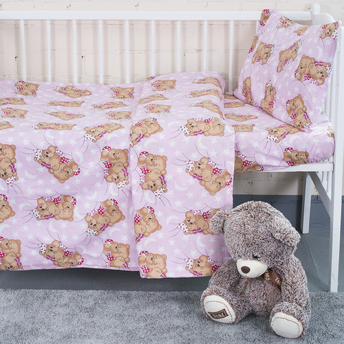 Постельное белье в детскую кроватку из бязи 1286/2 Соня розовый с простыней на резинке фото 1