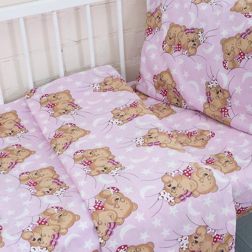 Постельное белье в детскую кроватку из бязи 1286/2 Соня розовый с простыней на резинке фото 4