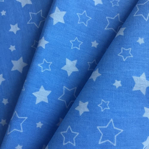 Ткань на отрез бязь 120 гр/м2 детская 150 см Звездочки на голубом фото 4