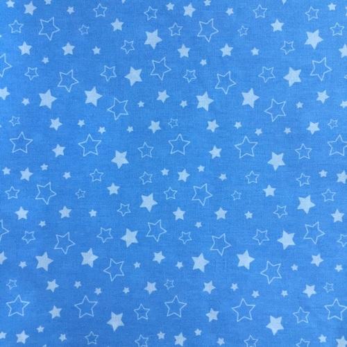 Ткань на отрез бязь 120 гр/м2 детская 150 см Звездочки на голубом фото 1