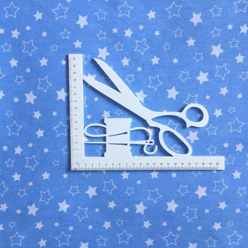 Ткань на отрез бязь 120 гр/м2 детская 150 см Звездочки на голубом фото 5