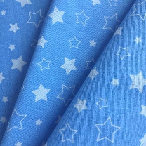 Ткань на отрез бязь 120 гр/м2 детская 150 см Звездочки на голубом фото 2