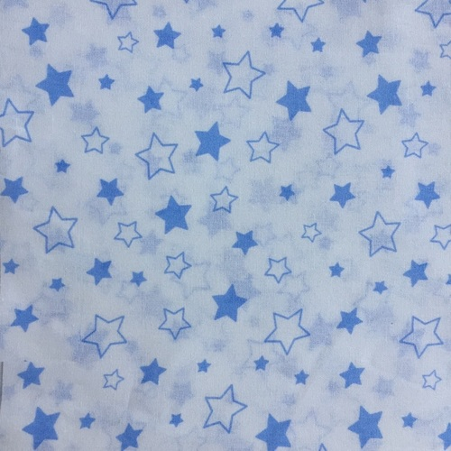 Ткань на отрез бязь 120 гр/м2 детская 150 см Звездочки б/з цвет голубой фото 1