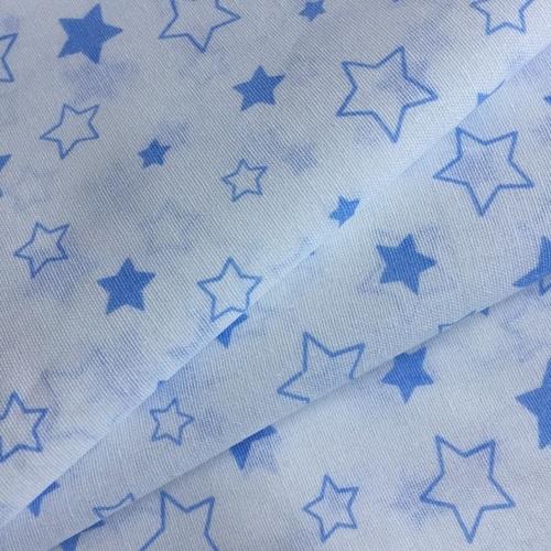 Ткань на отрез бязь 120 гр/м2 детская 150 см Звездочки б/з цвет голубой фото 3