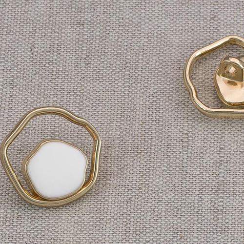 Пуговица металл ПМ87 18мм золото белая эмаль уп 12 шт фото 1