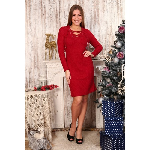 Платье Афродита со шнурком красное Д482 р 44 фото 1