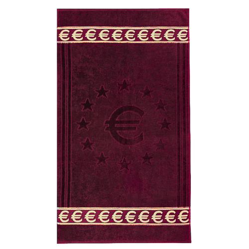 Полотенце велюровое Европа 70/130 см цвет бордовый с евро фото 1
