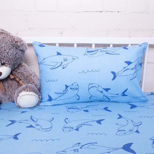 Постельное белье в детскую кроватку из бязи 9760/1 Акулы фото 2