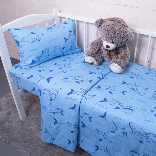 Постельное белье в детскую кроватку из бязи 9760/1 Акулы фото 1