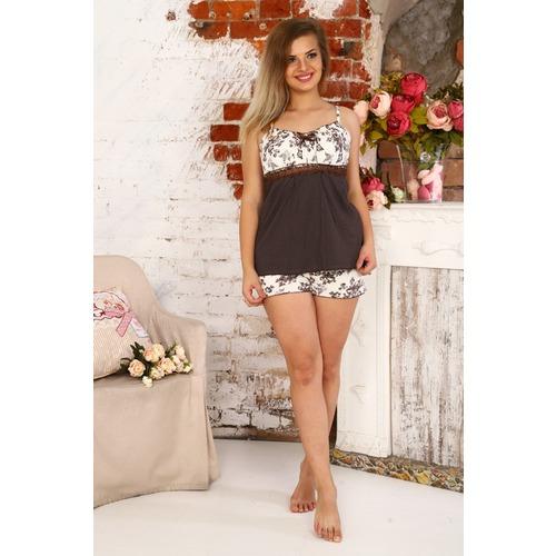 Пижама Царица Шорты Цветы На Молочном+Коричневый Горох Б16 р 52 фото 1