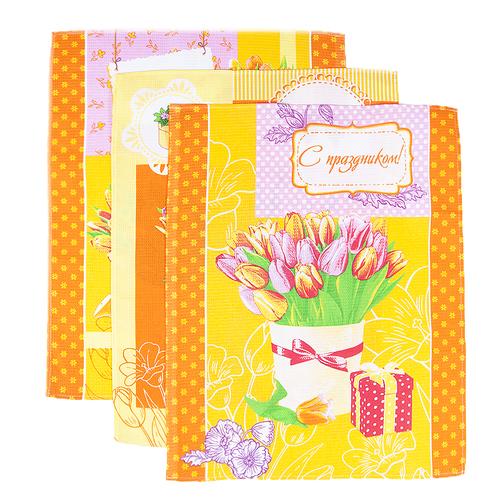 Набор вафельных полотенец 3 шт 45/60 см 449/3 Тюльпаны цвет оранжевый фото 1